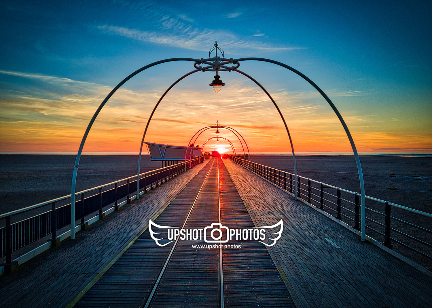 Aerial drone photography at Southport pier at sunset by Upshot Photos