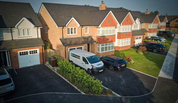 Aerial drone photography of property development in Thornton, Merseyside