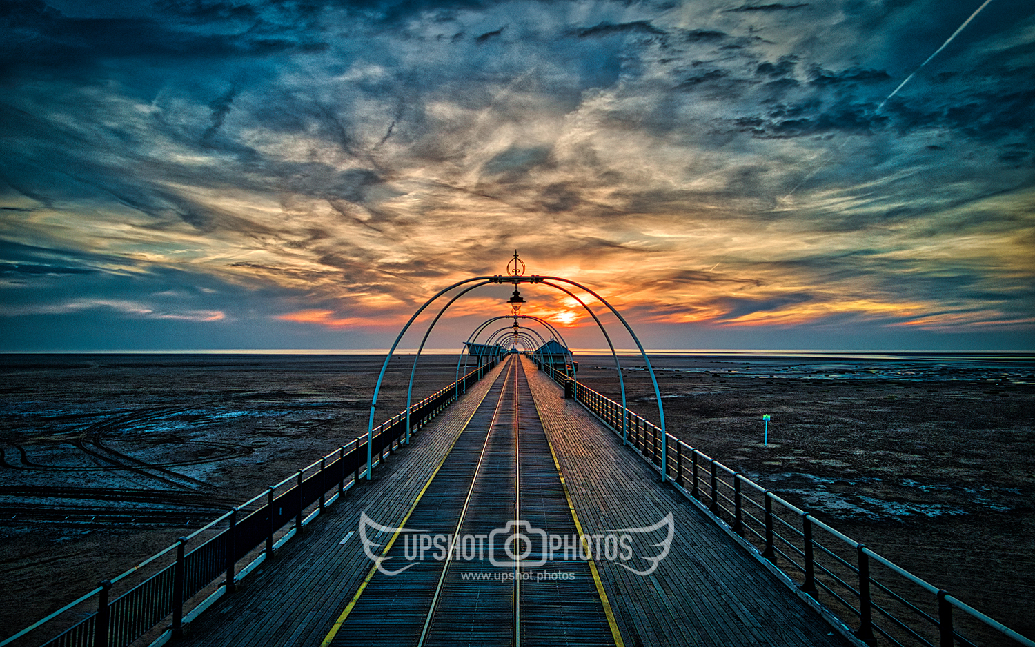 Drone photography at Southport pier at sunset by Upshot Photos