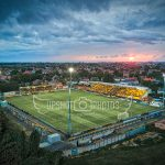 Drone photo of Southport FC's Haig Avenue stadium at sunset